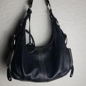 Franco Sarto black shoulder bag purse silver